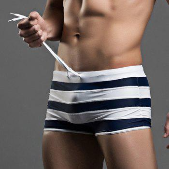 Lace-Up Stripes Design Boxer Swimming Trunks - XL XL