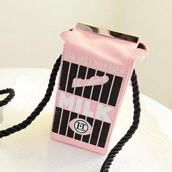 Cute Milk Box Shape and Canvas Design Crossbody Bag For Women - PINK