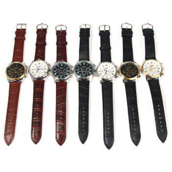GUANQIN Men Leather Band Calendar Quartz Watch 10ATM Water Resistant with Three Moving Sub-dials - BLACK WHITE WHITE