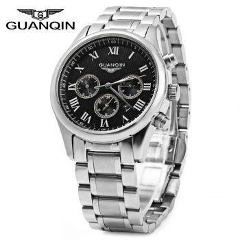 GUANQIN Men Steel Band Calendar Quartz Watch 10ATM Water Resistant with Three Moving Sub-dials