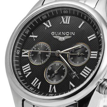 GUANQIN Men Steel Band Calendar Quartz Watch 10ATM Water Resistant with Three Moving Sub-dials - ROMAN SCALE BLACK