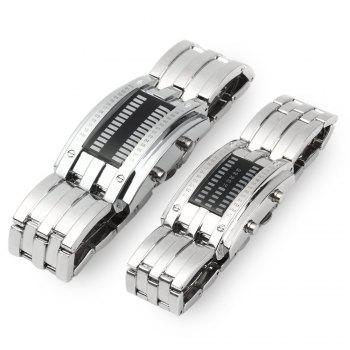 Date Binary Digital LED Bracelet Couple Watch Rectangle Dial - SILVER