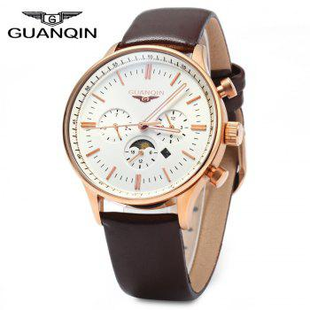 GUANQIN Men Leather Quartz Watch with Calendar Display Moving Three Sub-dials - BROWN GOLDEN WHITE BROWN GOLDEN WHITE