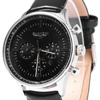 GUANQIN Men Leather Quartz Watch with Calendar Display Moving Three Sub-dials -  BLACK SILVER BLACK