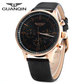 GUANQIN Men Leather Quartz Watch with Calendar Display Moving Three Sub-dials - BLACK GOLDEN BLACK BLACK GOLDEN BLACK