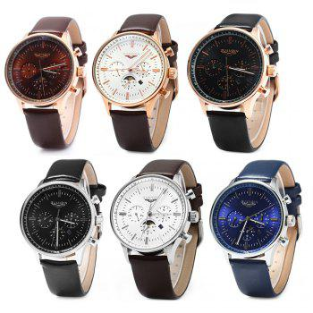 GUANQIN Men Leather Quartz Watch with Calendar Display Moving Three Sub-dials -  BLACK GOLDEN BLACK