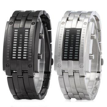 Women Date Digital LED Bracelet Watch Rectangle Dial -  BLACK