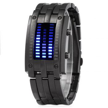 Women Date Digital LED Bracelet Watch Rectangle Dial - BLACK BLACK