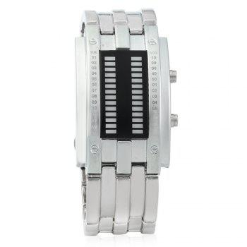 Men Date Binary Digital LED Bracelet Watch Rectangle Dial - SILVER