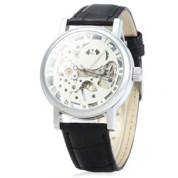 SEWOR Men Hollow Mechanical Watch with Leather Band Roman Scale - BLACK SILVER WHITE BLACK SILVER WHITE