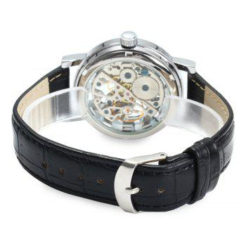 SEWOR Men Hollow Mechanical Watch with Leather Band Roman Scale -  BLACK SILVER WHITE