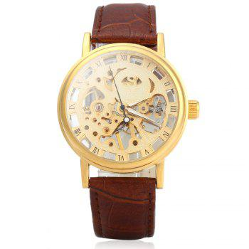 SEWOR Men Hollow Mechanical Watch with Leather Band Roman Scale - BROWN GOLDEN GOLDEN
