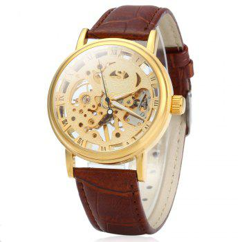 SEWOR Men Hollow Mechanical Watch with Leather Band Roman Scale