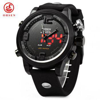 OHSEN AD2820 Men Silicone Sports Quartz Watch Big Dial Double Movement 5ATM Water Resistant