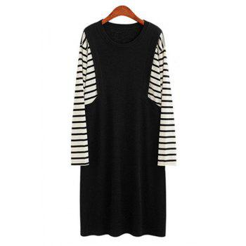 Casual Striped Spliced Jewel Neck Long Sleeve Plus Size Dress For Women