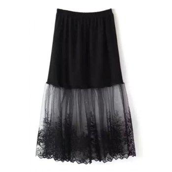 Stylish A Line Lace Mesh Spliced Women's Skirt