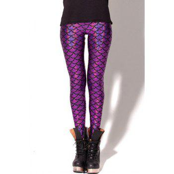 Stylish Sexy Bodycon Fish Scale Print Women's Leggings
