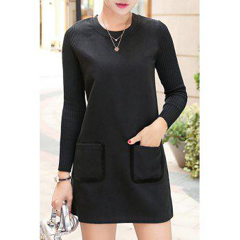 Stylish Long Sleeve Round Neck Spliced Pocket Design Women's Dress