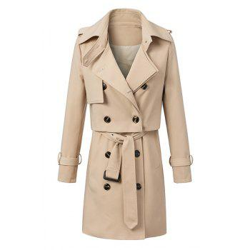 Stylish Solid Color Waistcoat and Turn-Down Collar Long Sleeves Trench Coat Women's Twinset