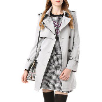 Fashion Turn-Down Collar Long Sleeves Solid Color Women's Trench Coat