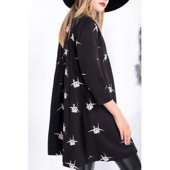 Sweet Round Neck 3/4 Sleeve Paper Crane Single-Breasted Women's Trench Coat - BLACK M