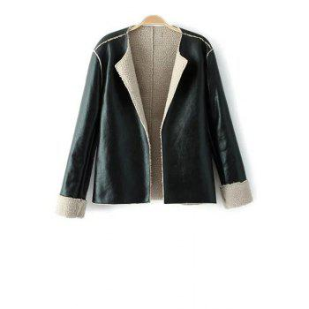 Stylish Turn Down Collar Long Sleeve PU Leather Fleece Women's Jacket