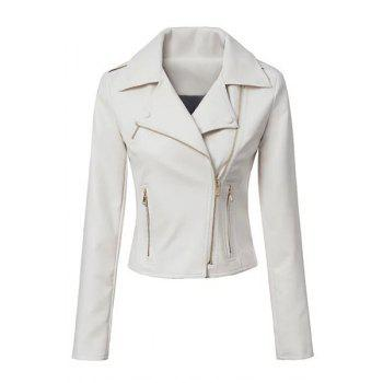 Stylish Lapel Long Sleeve Heart Print PU Leather Women's Blazer