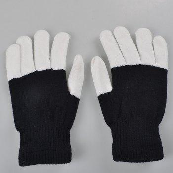 Stylish Pair Of Cotton Material 7-Mode Colorful Changing LED Finger Lighting Flashing Gloves -  BLACK