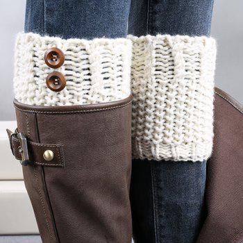 Pair of Chic Button Embellished Crochet Women's Knitted Boot Cuffs - IVORY WHITE IVORY WHITE