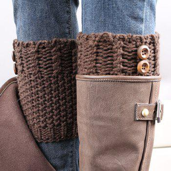 Pair of Chic Button Embellished Crochet Women's Knitted Boot Cuffs - COFFEE COFFEE