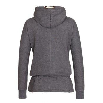 Chic Hooded Long Sleeve Flounce Hoodie For Women - GRAY XL