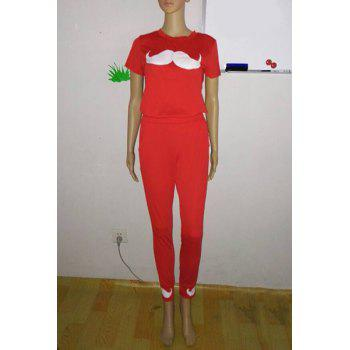 Active Mustache Print Round Neck Short Sleeve T-Shirt and Pants Twinset For Women - RED XL