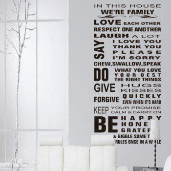 Good Quality Letter Pattern Removeable Decorative Wall Sticker - BLACK