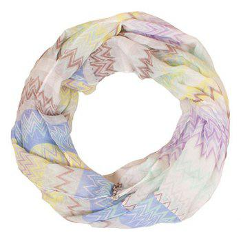 Chic Wavy Stripe Pattern Multicolor Women's Voile Scarf - BLUE
