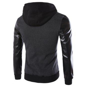 Vogue Drawstring Hooded PU Leather Spliced Zipper Design Long Sleeves Men's Slimming Jacket - DEEP GRAY 2XL