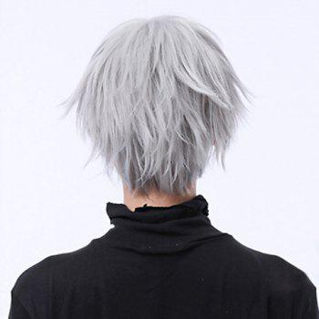 Fashion Silver Short Towheaded Neat Bang Heat Resistant Synthetic Natural Straight Cosplay Anime Wig - SILVER WHITE