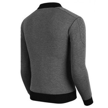 Slimming Hit Color Side Zipper Argyle Knurling Rib Spliced Stand Collar Long Sleeves Men's Jacket - GRAY L