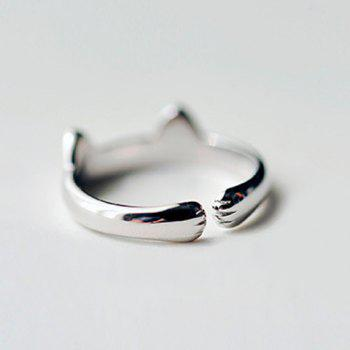 Cat Ear Shape Cuff Ring - SILVER ONE-SIZE