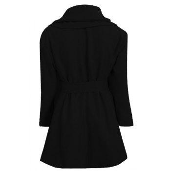 Stylish Long Sleeve Turn-Down Collar Spliced Zip Up Women's Belted Coat - BLACK S