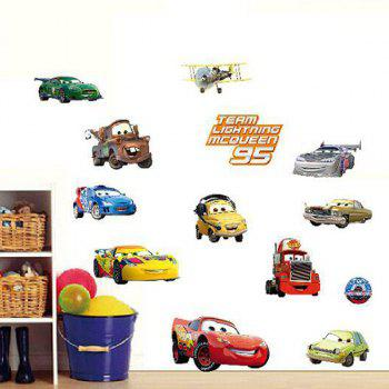 High Quality Cartoon Car Pattern Removeable Waterproof 3D Wall Sticker - COLORMIX