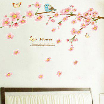 High Quality Peach Blossom Bird Pattern Removeable Waterproof Wall Sticker - COLORMIX