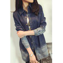 Brief Polo Collar Ombre Long Sleeve Denim Blouse For Women