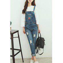 Cute Women's Broken Hole Patch Design Suspender Jeans