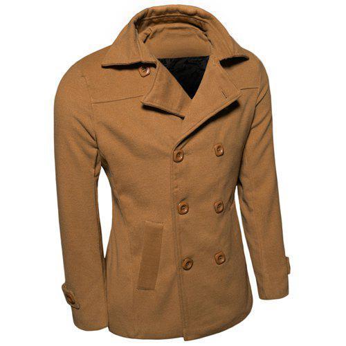 Laconic Turn-down Collar Multi-Button Back Slit Solid Color Long Sleeves Men's Woolen Blend Peacoat - CAMEL M