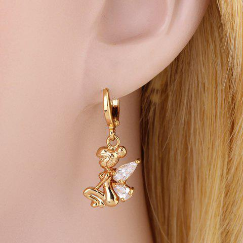 Pair of Faux Crystal Fairy Shape Earrings - WHITE