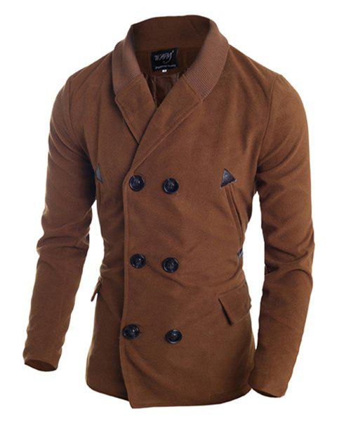 Multi-Button PU Leather Spliced Zipper Design Turn-down Collar Long Sleeves Men's Woolen Blend Peacoat - CAMEL M