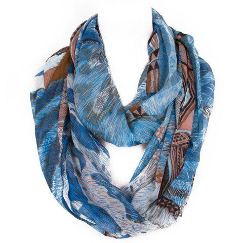 Chic Triangle and Fur Pattern Multicolor Women's Voile Scarf - BLUE