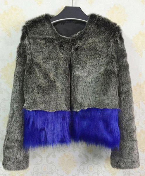Stylish Faux Fur Long Sleeve Color Block Coat For Women - AS THE PICTURE 2XL