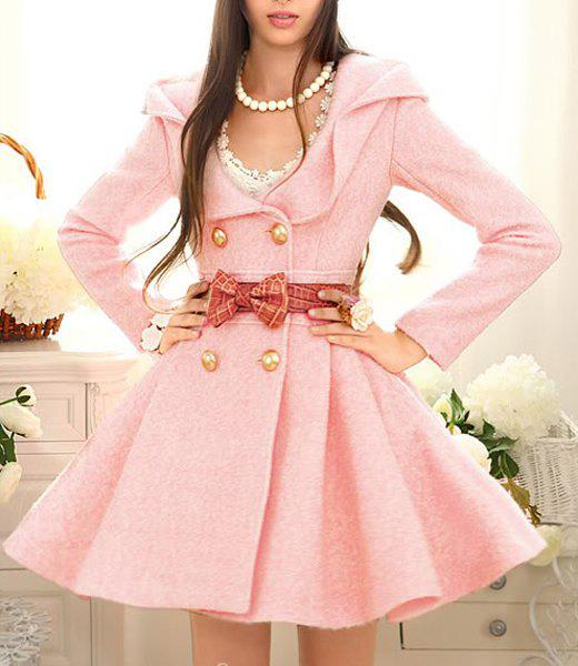 Ladylike Long Sleeve Turn-Down Collar Women's Pink Peacoat