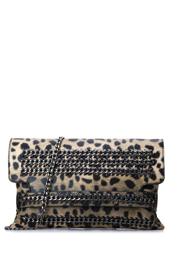 Trendy Chains and Leopard Print Design Women's Crossbody Bag